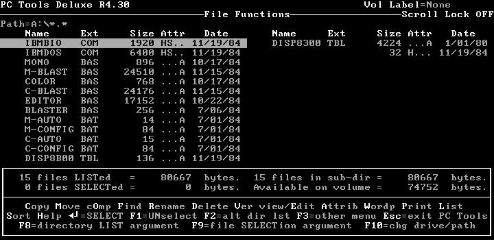 IBM PC/Tandy 1000 Game Installation/File Listing Screenshot
